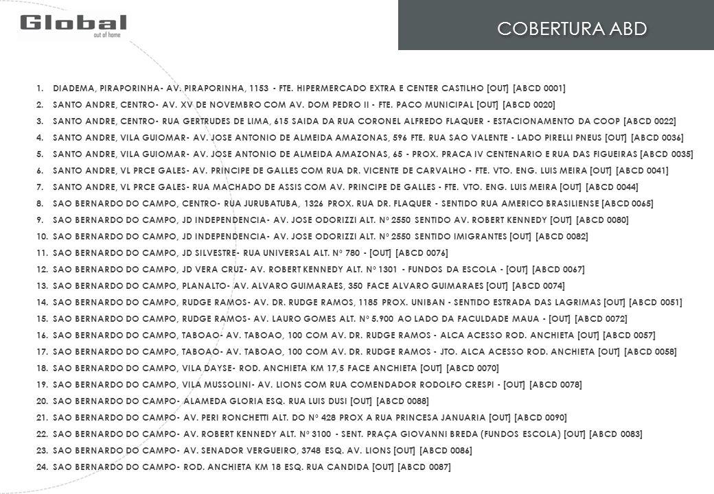 COBERTURA ABD DIADEMA, PIRAPORINHA- AV. PIRAPORINHA, 1153 - FTE. HIPERMERCADO EXTRA E CENTER CASTILHO [OUT] [ABCD 0001]